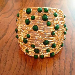 BOGO NWOT Cuff Bracelet w Green White Stones
